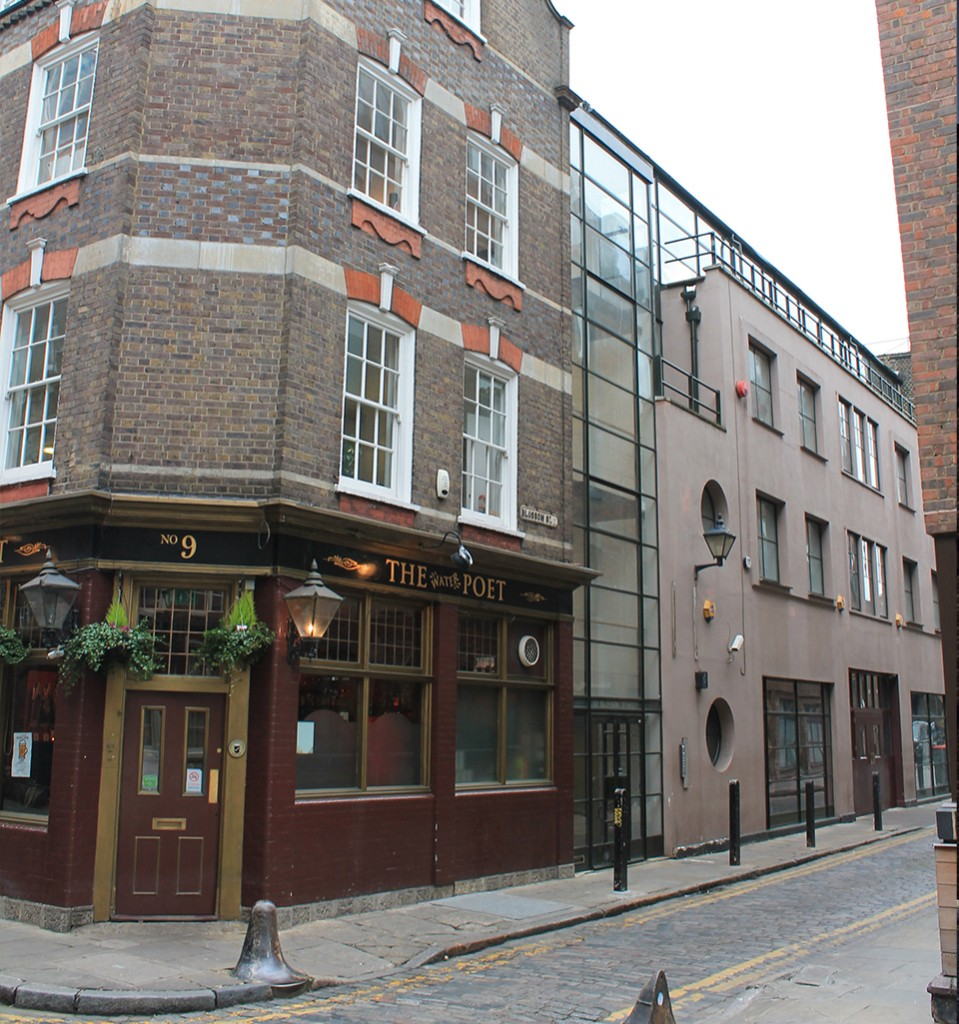 Existing view of Water Poet pub and junction with 16-17 Blossom Street