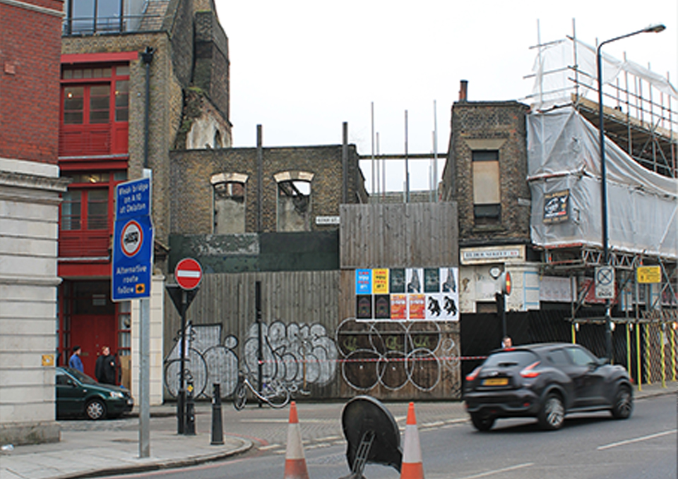 Existing view of No.161 Commercial Street and No. 2-4 Elder Steet