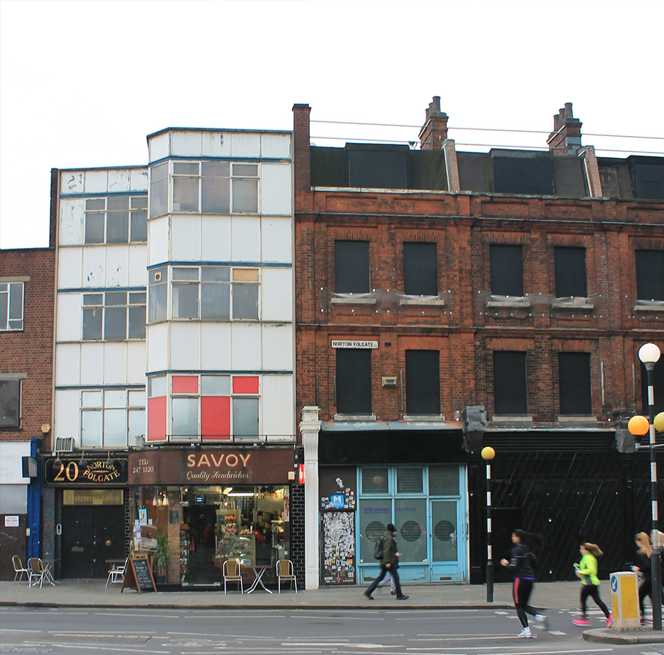 Existing view looking east from corner of Shoreditch High Street and Worship Street towards Savoy Cafe and 19-18 Norton Folgate