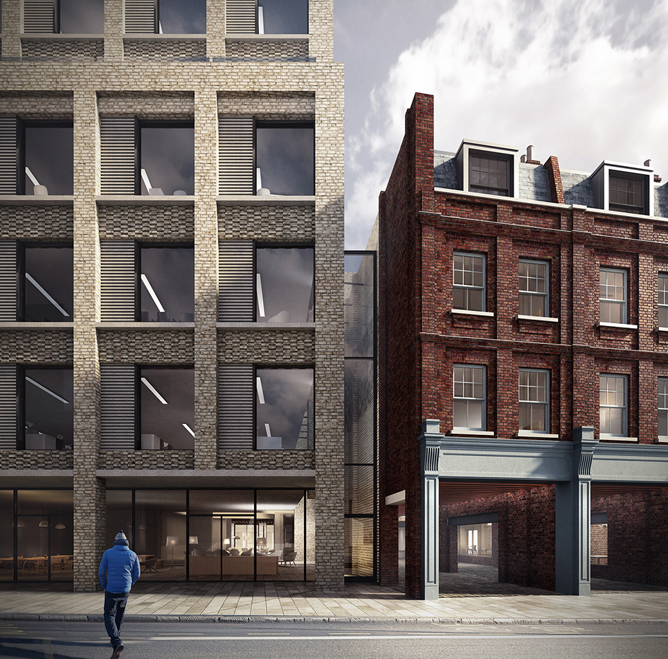 Proposed view looking east from corners of Shoreditch High Street and Worship Street towards new S1 office block and refurbished 19-18 Norton Folgate with new pedestrain entrance through to Blossom Yard