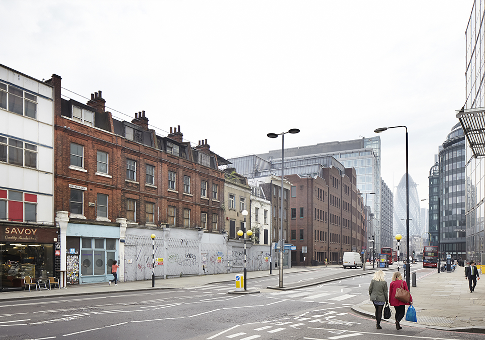 Existing View from corner of Norton Folgate & Worship Street looking south showing 19 -13 Norton Folgate