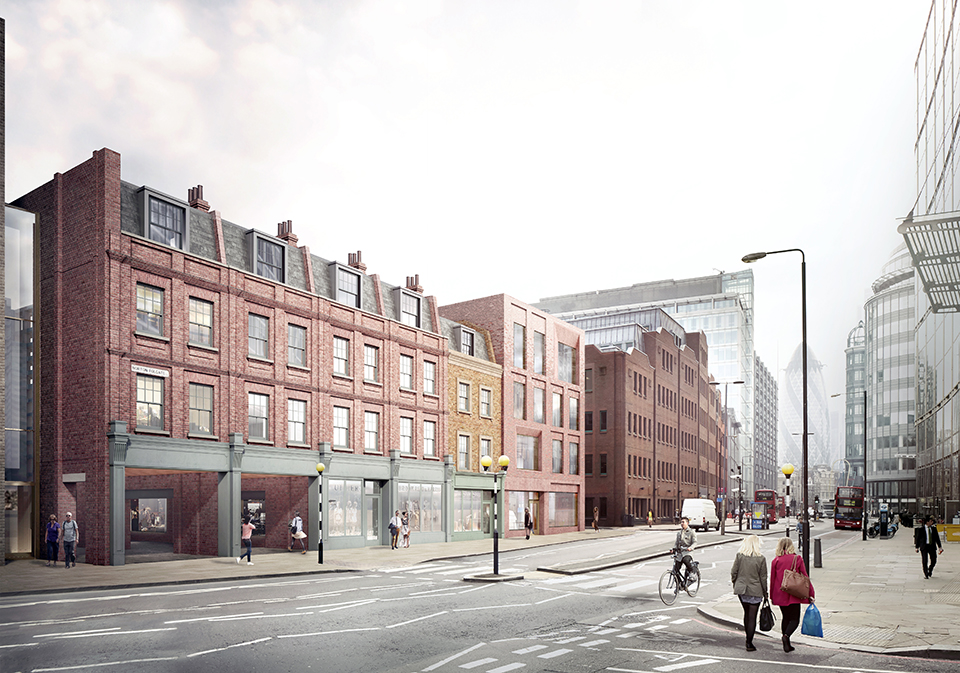 Proposed View from corner of Norton Folgate & Worship Street looking south depicting refurbishment of 19-15 Norton Folgate
