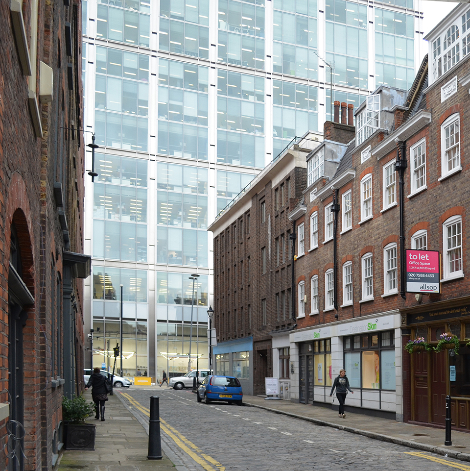 Existing View from Folgate Street looking west towards 201 Bishopsgate