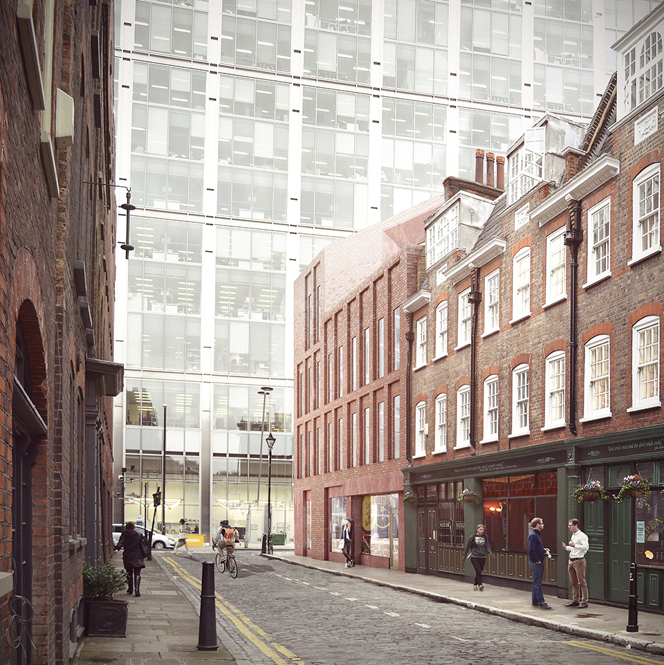 Proposed view from Folgate Street looking west towards 201 Bishopsgate
