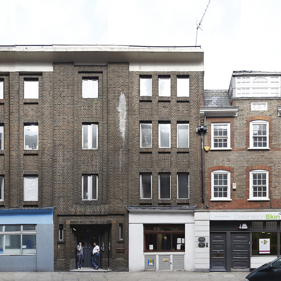 Existing facade view looking north to No.3 and junction with No.5 Folgate Street
