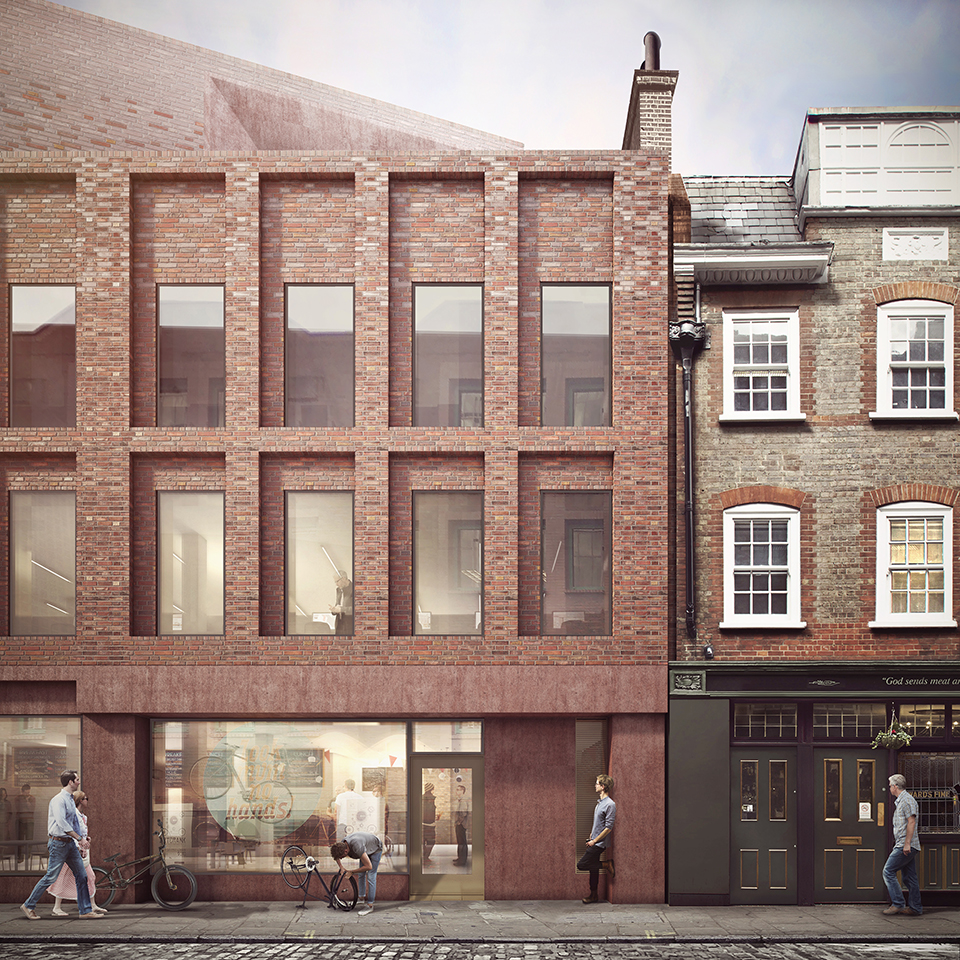 Proposed facade view looking north to new retail and office building on corner of Folgate Street and Norton Folgate and junction with refurbished No. 5 Folgate Street
