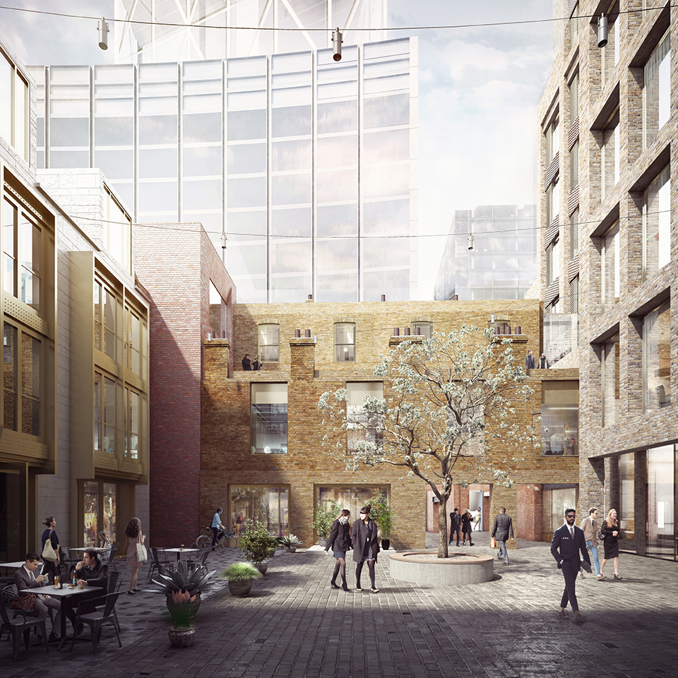 Proposed view looking west to rear of 16-19 Norton Folgate depicting refurbished wash houses and pedestrian entrance to Blossom Yard from Shoreditch High Street